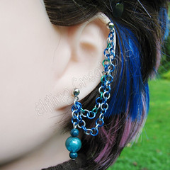 Sea Blue and Green Double Connecting Cartilage Chain Earring