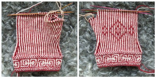 Twined mitten in progress by Asplund
