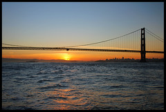 Golden Gate Glowing (LifeLover4) Tags: sf sanfrancisco california sunrise canon island dawn bay boat fishing pacificocean goldengatebridge baybridge alcatraz arima southtower sfobb 550d efs1755mmf28isusm t2i parkpic lifelover4 stickneydesign ggb75