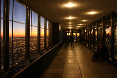 The Air Up There (Flint Foto Factory) Tags: city family autumn urban chicago building fall tourism night skyscraper john fun lights evening illinois cafe october tour open nocturnal outdoor dusk walk air horizon center tourist deck observatory chestnut tall delaware hancock attraction nightfall lavazza skywalk 2011 feelsgood