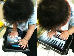 iPadで演奏するとらちゃん(2011/10/2)