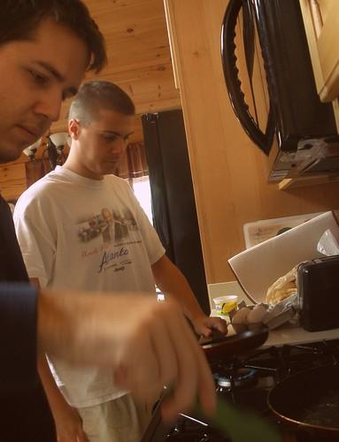 boys making breakfast