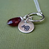 October Birthstone- Pink Tourmaline and Ladybug Necklace  **Additional Birthstones and Images Availa