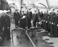 USS Advent (AM83): Commissioning ceremony -  ship's commanding officer reads his orders - Aug. 19, 1942. This photo was in my father-in-law's collection.  -- for a larger image LEFT CLICK ON THE IMAGE (Bob_ Perry) Tags: minesweeper subchaser adroit commercialironworks am83 adroitclass joemuise patrolcraft1587 ussadvent ussadventam83 pc1587 jktuttle josephmuise josephomuise