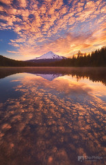 Mackerel Sky, Trillium Lake (Chip Phillips) Tags: usa lake reflection water oregon sunrise volcano trillium cascades hood