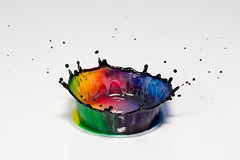 Color Crown (Franois Doroth) Tags: color colour colors milk droplets drops colours couleurs flash drop drip droplet lait crown drips splash dye couleur goutte fooddye gouttes flashes highspeedphotography couronne colorant gouttelettes strobist gouttelette cameraaxe
