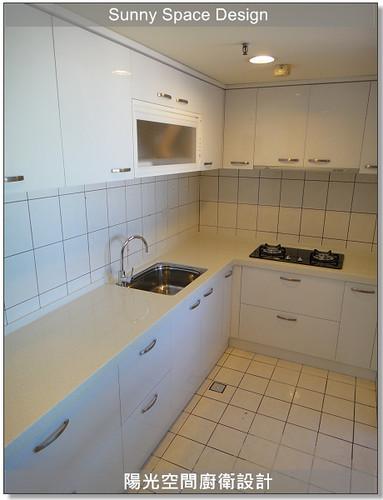 廚具工廠-中和景平路彭設計L型廚具:韓國人造石+木心板桶身+水晶門板+豪山三機-陽光空間廚衛設計