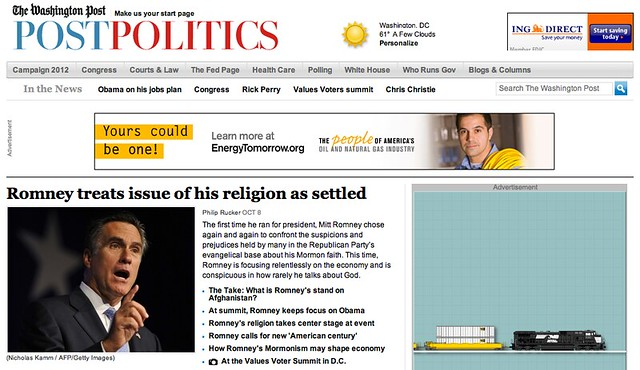 Washington Post Politics Section Headline on Romney Response