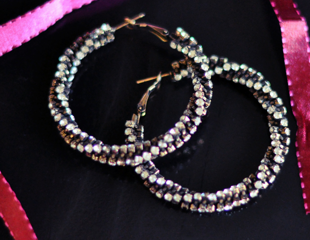twisted crystal hoop earrings