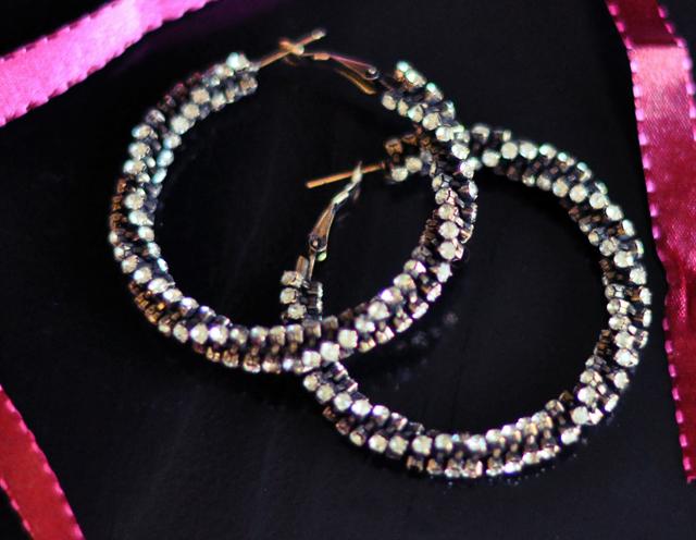 twisted crystal hoop earrings