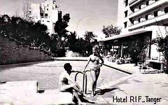 Tangiers c 1960s Postcard - Rif Hotel Swimming Pool (ronramstew) Tags: old tourism beach vintage hotel postcard morocco maroc 1960s marruecos tangier marokko tanger rif tangiers tanja cartepostale pastal lemaroc