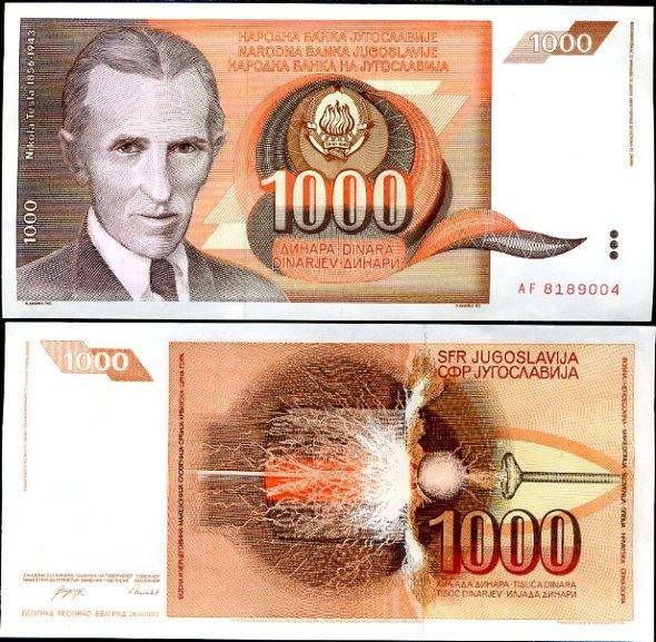 1000 Dinárov Yuhoslávia 1990, Pick 107