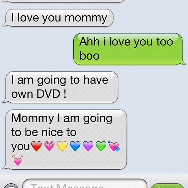 Project 365 285/365: My son texted me from hubby's iPhone. He is excited to get his own DVR not DVD.