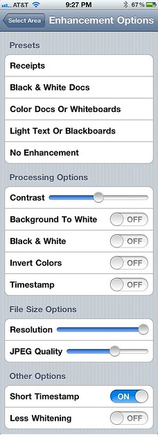 JotNot enhancement options