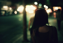 """you float like a feather, (jimmay bones) Tags: street city woman girl night nikon bokeh fm2"