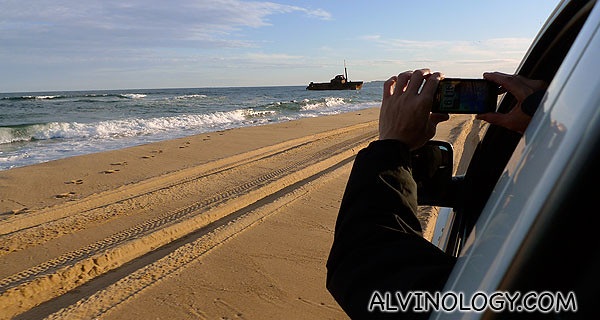 Willy taking a picture of MV Sygna with his HTC EVO as we drew closer