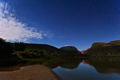 An Evening Sojourn at the Gates of Lodore (Fort Photo) Tags: sky reflection night river stars landscape star nikon colorado nightscape dinosaur nps canyon astrophotography greenriver co astronomy nm starry lodore widefield starrysky d700