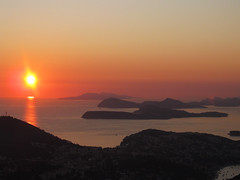 Dalmatian Sunset (Abizeleth) Tags: ocean sunset sea sun islands evening haze hazy dubrovnik adriaticsea dalmatiancoast lapad babinkuk srdj sr