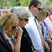 Family members of Lt. Cmdr. Eric Allen Cranford, an NC State alumnus who died in the attack on the Pentagon, wipe tears during the service.