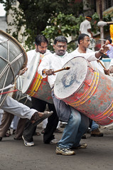The Drum Beater from Pune (Anoop Negi) Tags: portrait india religious photography for photo ganesha media image photos drum delhi indian religion bangalore creative 123 images best holy indie po drummer maharashtra tradition mumbai anoop indien pune inde immersion fanfare negi  pageantry  dhol ndia photosof    intia ezee  n bestphotographer   imagesof anoopnegi     jjournalism  ndia n indi