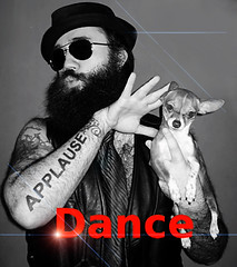 I Just Want to Dance (faith goble) Tags: red blackandwhite bw hairy chihuahua art sunglasses tattoo beard funny faith tie cc german creativecommons techno parody electronica vest applause dancemusic porkpiehat goble originalcomposition faithgoble patrickgoble brantgoble gographix faithgobleart