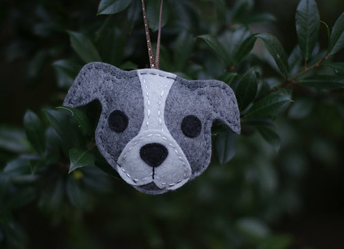 Felt Pitbull Ornament - Gray
