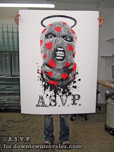 ASVP making a balaclava street art poster