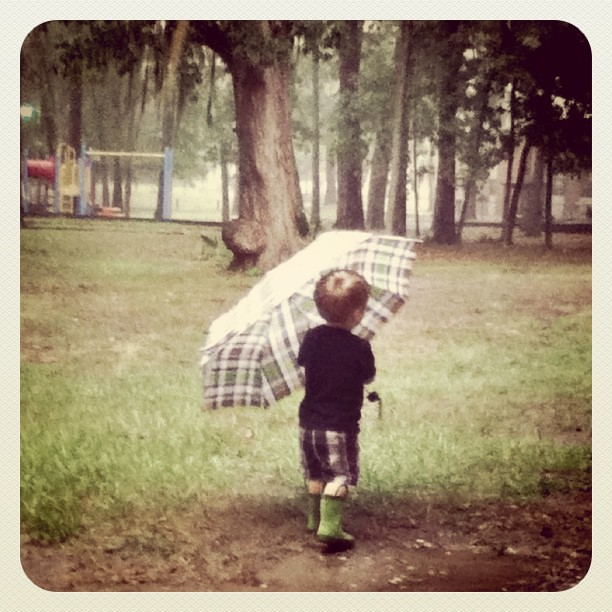Earlier today...playing in the rain. :)
