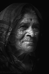 Smile - Way to live (Light and Life -Murali முரளி) Tags: old portrait bw smile mono women cheers todraw img2045p1bwsc