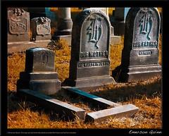 cemetery-infant-grave (emersonquinn) Tags: autumn cemetery graveyard unitedstates framed disturbing tombstones indiansummer restinpeace 4star browngrass watermarked goldengrass infantgrave babygrave infanttombstone babytombstone