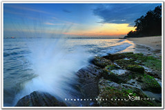 singapore east coast  park (fiftymm99) Tags: sunset beach coast yahoo seaside google nikon marine singapore rocks wave parade east milky d300 fiftymm99 gettyimagessingaporeq2