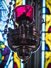 Church Lamp (garryknight) Tags: light stpeters church window lamp canon stainedglass powershot isleofwight creativecommons shorwell lightroom sx220hs