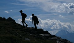 two up (paulmelllor) Tags: sky cloud mountain alps silhouette trek austria climb tirol path walk peak alpine summit tztal tyrol innsbruck karwendel hafelekarspitze