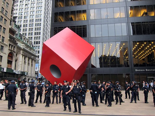 Occupy Wall Street: Day Six, NYPD surround Noguchi's Red Cube