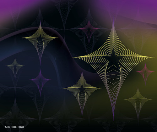 Abstract Tech Diamond Star Mesh Patterns