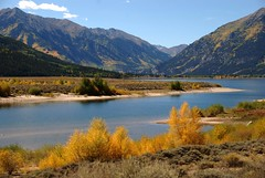 Deep greens, yellows, and blues (Let Ideas Compete) Tags: autumn mountains fall nature forest landscape scenery san colorado lakes pass twin reservoir national shore valley isabel essence twinlakes independence
