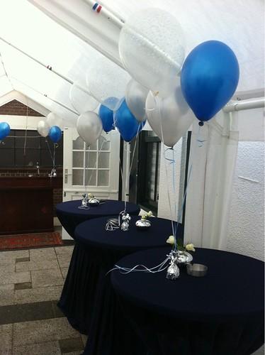 Tafeldecoratie 3ballonnen Transparant Just Married Blauw en Zilver