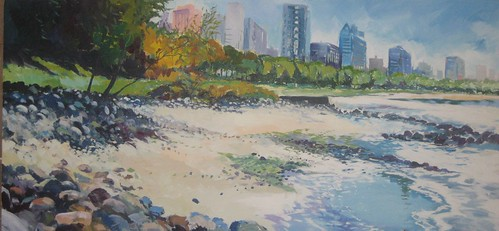 City Beach, English Bay - Painting - Impressionism