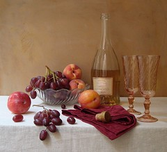 Evening Solace. (Esther Spektor) Tags: light stilllife food orange white reflection art glass yellow fruit table evening bottle wine artistic linen burgundy napkin cork creative peach silk plum bowl explore dishes tablecloth 1001nights grape serenade naturemorte goblet artisticphotos naturezamorta coth bej esimages