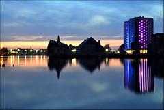 sugar city (leuntje) Tags: netherlands reflections silo silos bluehour csm ringvaart industrialheritage halfweg zwanenburg sugarcity formersugarfactory voormaligesuikerfabriek