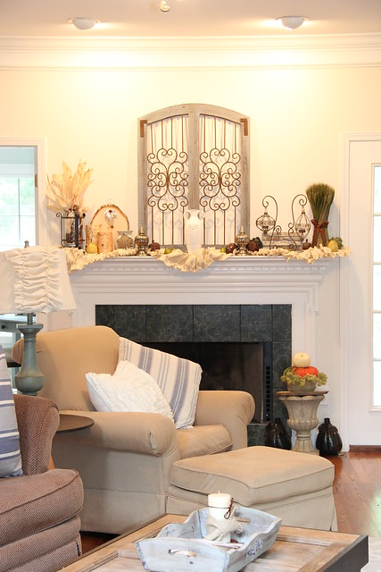 Fall mantel living room fireplace