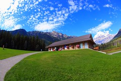Mount Robson National Park  Information Centre (kcezary) Tags: travel trees summer vacation canada tourism canon landscape outdoors holidays britishcolumbia places paisaje paysage landschaft      canonef15mmf28fisheye canonprimelens canon5dmkii mountrobsonnationalpark mylensdb