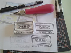 mixed cassette tape hand carved stamp (Miss Thundercat) Tags: music open handmade workinprogress wip 80s etsy kdd atwork cassettetape mixedtape handcarvedstamp swapbot 80sinspired kittydarknessdesigns cassettedesk flickeroid
