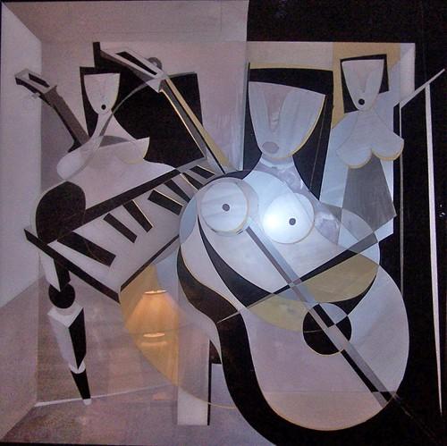 Los Musicos   Painting Original Plexiglass