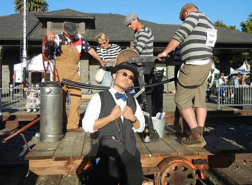 Rik with handcar at Handcar Regatta 2011
