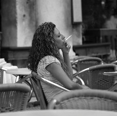 Piazza Girl (Boyd Hunt) Tags: venice bw italy girl cafe italian smoking ristorante