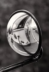Busted in Black and White (Lea and Luna) Tags: blackandwhite bw distortion reflection bus monochrome mirror dc washington nikon metro bokeh georgetown mstreet nikkor topaz distored achromatic d5100 55300mmf45 topazblackandwhiteeffects