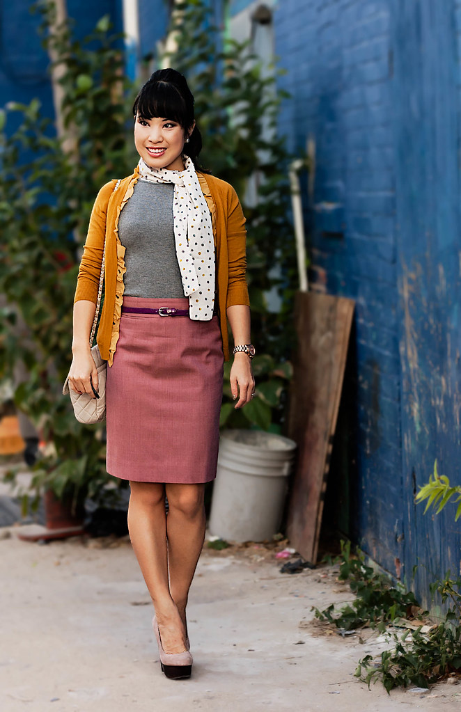 MNG By Mango sweater tank with neck tie, j. crew gold chiffon placket cardigan, j. crew super 120s mauve morning pencil skirt, mk5430, yesstyle sarah quilted beige flap purse, pearl earrings studs
