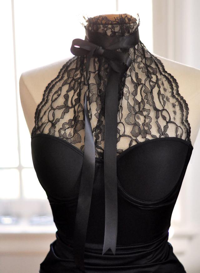 diy fashion blog, Lace Bustier Halter DIY - with bow