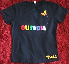 OUSADIA (Kaasf) Tags: nome patchwork letras borboletas estampa aplique camisetapatchcolagem